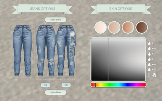 Villena - Mom Jeans HUD (comes in 3 styles with preset skin colors + RGB adjustment)